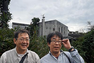 大阪市立少年保養所、旧結核棟前で